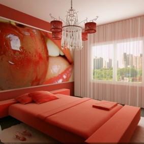 спальня в красных тонах фото интерьер
