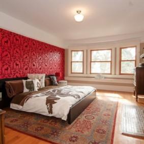 спальня в красных тонах фото оформление