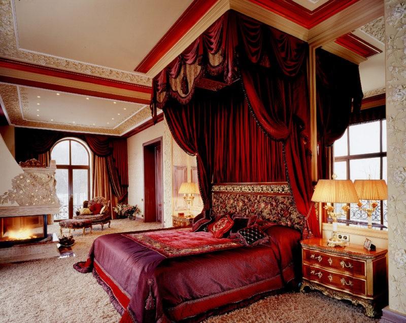 спальня в красных тонах фото оформления