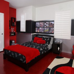 спальня в красных тонах идеи интерьер