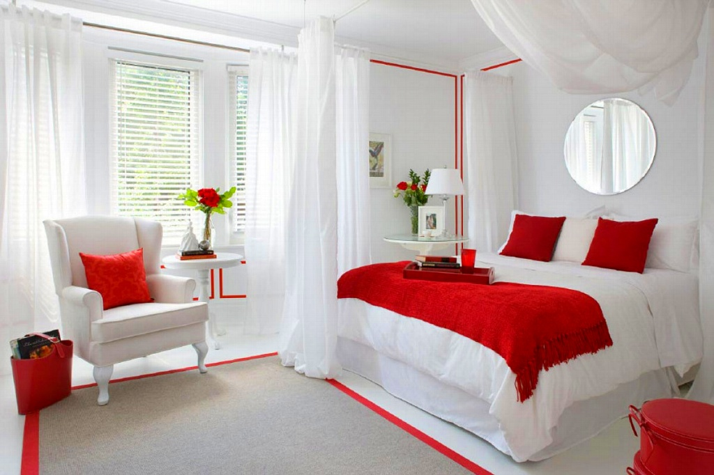 спальня в красных тонах оформление фото