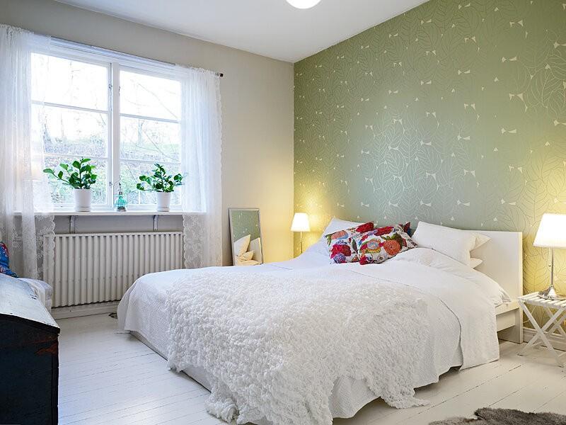 спальня в скандинавском стиле зеленая