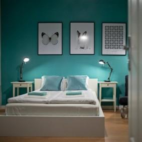 спальня в зеленых тонах декор