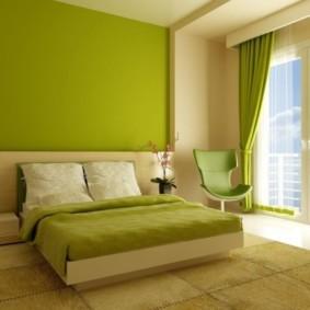 спальня в зеленых тонах дизайн интерьера