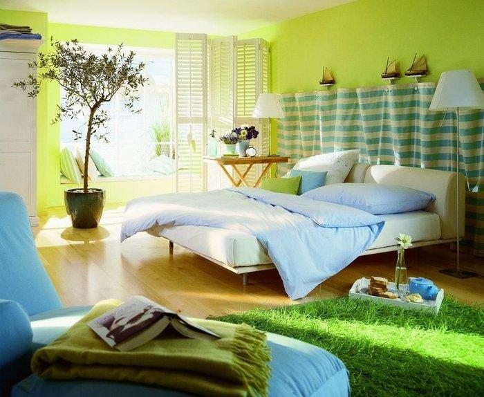 спальня в зеленых тонах фото дизайна