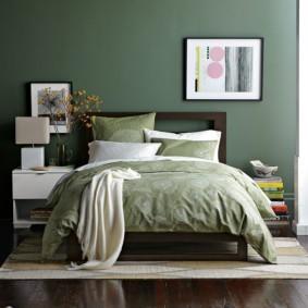 спальня в зеленых тонах идеи декор