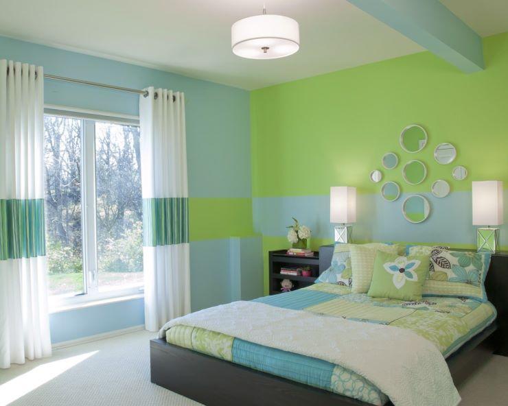 спальня в зеленых тонах идеи декора