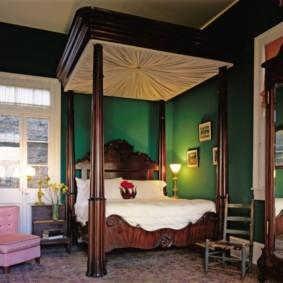 спальня в зеленых тонах идеи дизайн