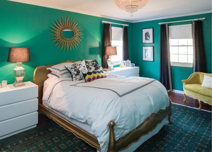 спальня в зеленых тонах интерьер идеи