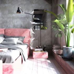 спальня в стиле лофт фото интерьера