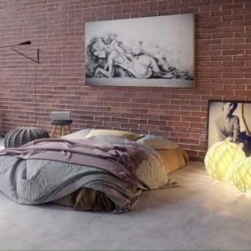 спальня в стиле лофт виды интерьера