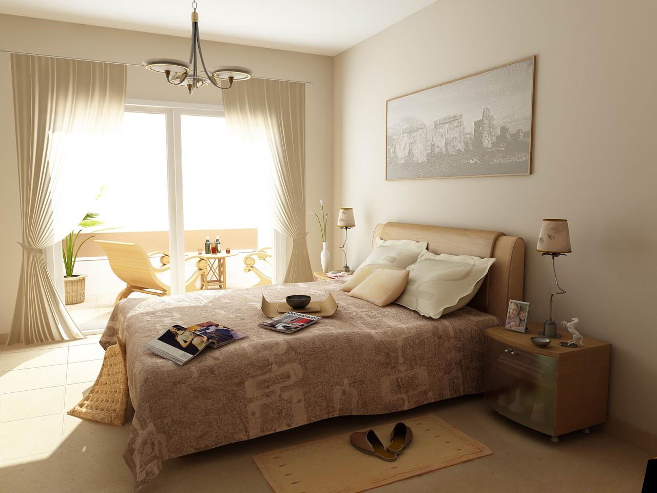спальня в бежевых тонах фото интерьер
