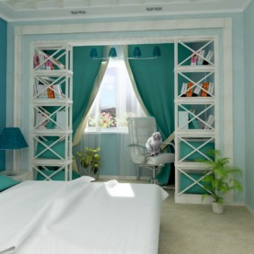 спальня в бирюзовых тонах декор фото