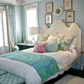 спальня в бирюзовых тонах дизайн