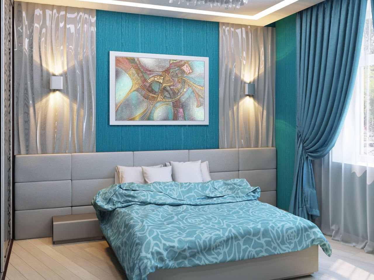 Фото спальни в бирюзово коричневых оттенках