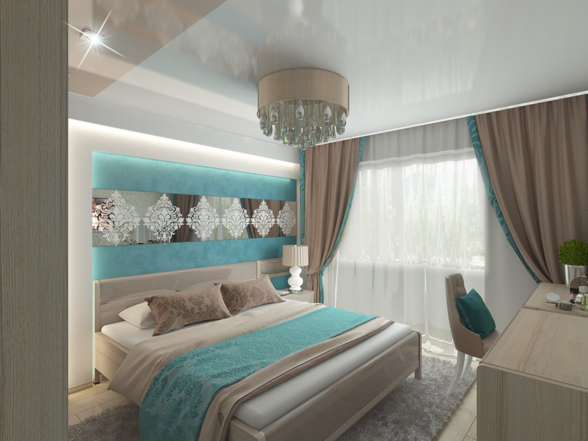 Фотопечать на потолке в спальне морская