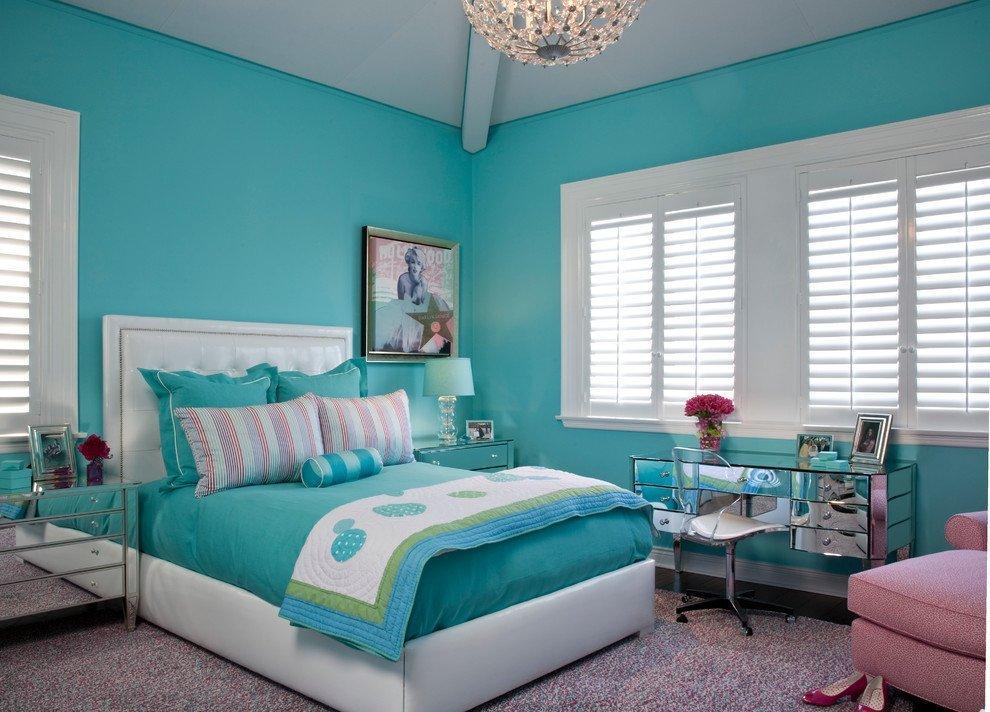 спальня в бирюзовых тонах фото оформления