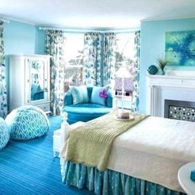 спальня в бирюзовых тонах фото варианты