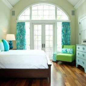 спальня в бирюзовых тонах идеи дизайна