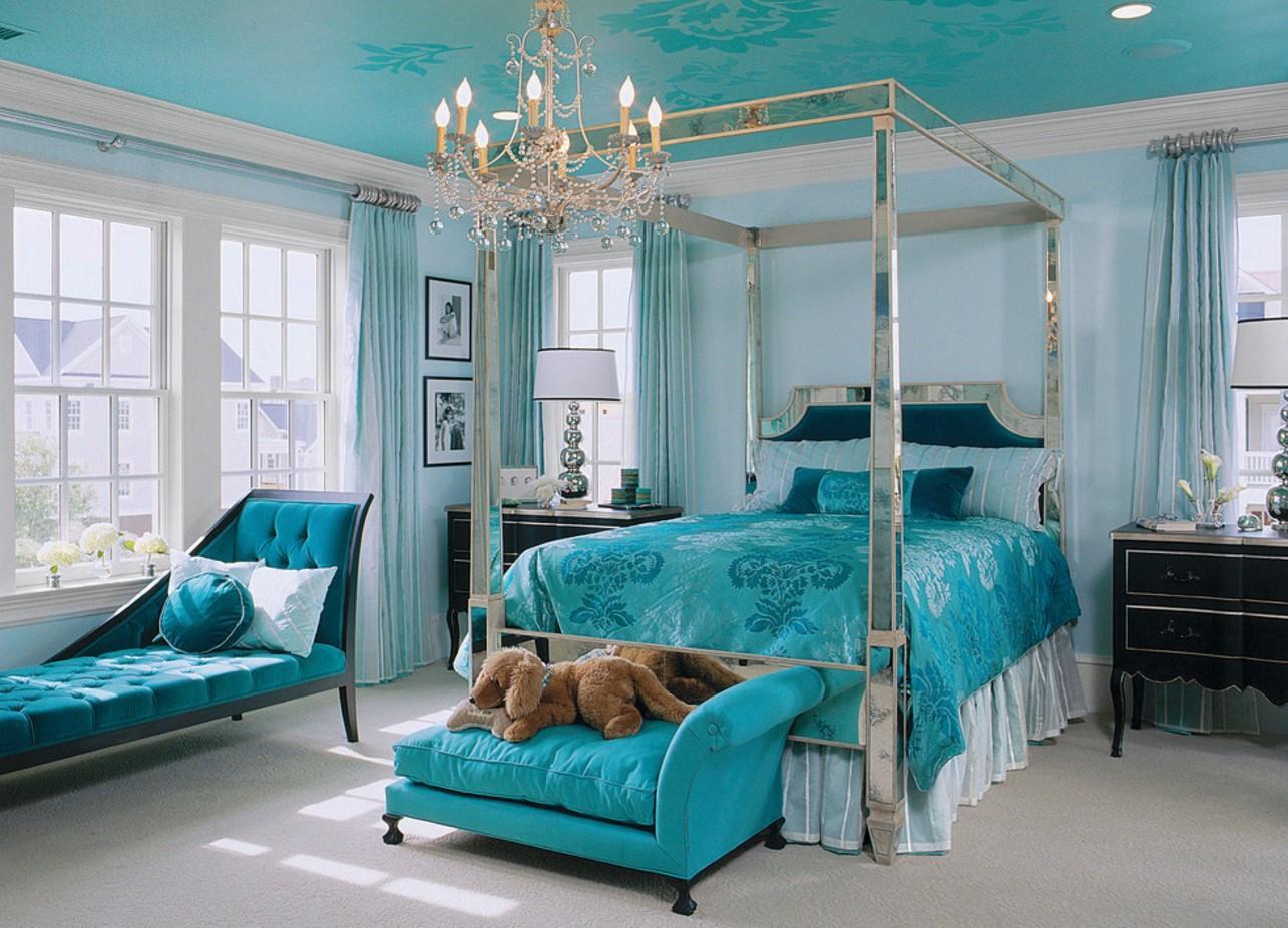 спальня в бирюзовых тонах интерьер фото