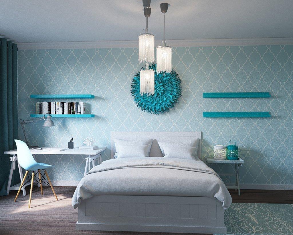 спальня в бирюзовых тонах интерьер