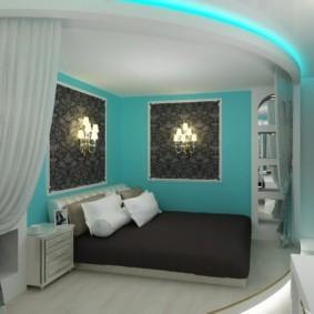 спальня в бирюзовых тонах оформление идеи
