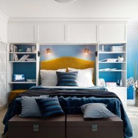 спальня в голубом цвете фото дизайна