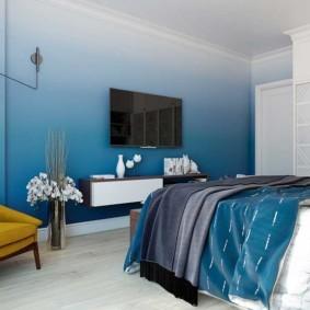 спальня в голубом цвете фото интерьер