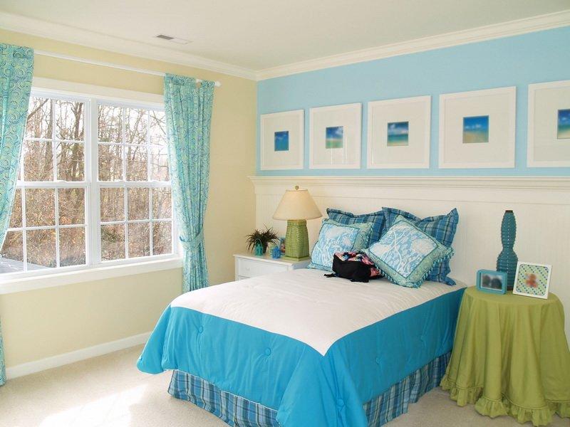 спальня в голубом цвете идеи дизайн