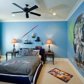 спальня в голубом цвете интерьер фото