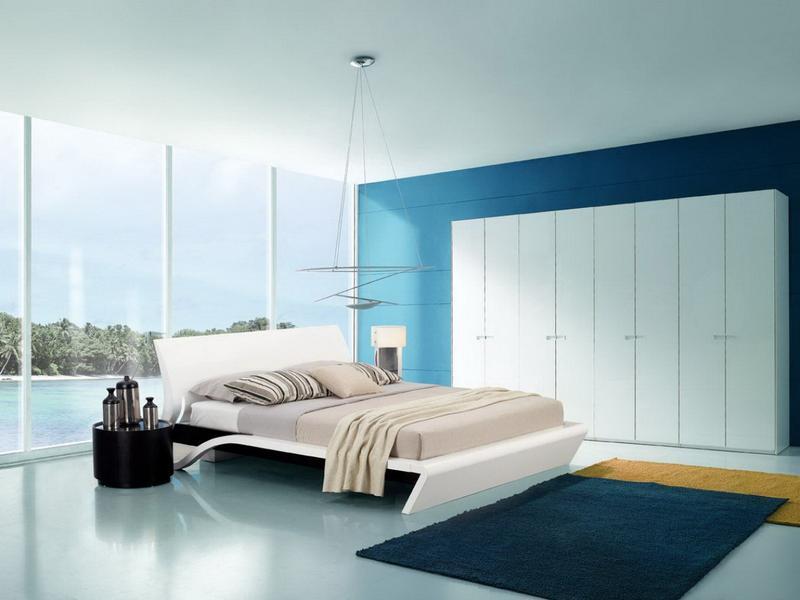 спальня в голубом цвете варианты