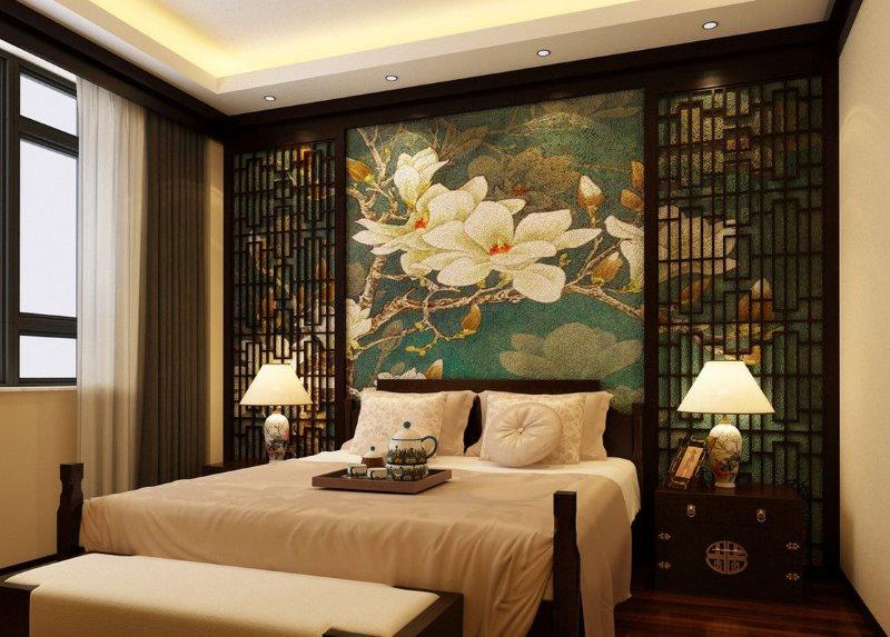 Интерьер небольшой спальни в китайском стиле