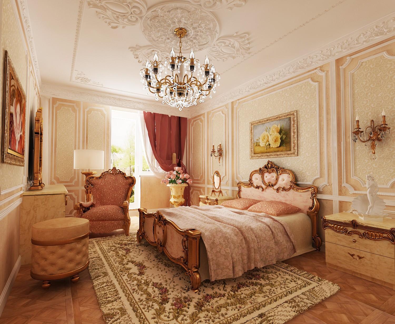 спальня в классическом стиле интерьер