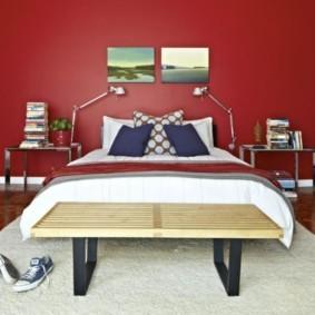спальня в красных тонах фото декора
