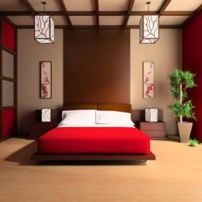 спальня в красных тонах фото интерьера