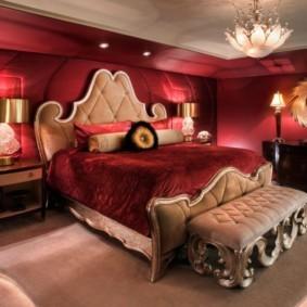 спальня в красных тонах идеи
