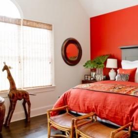 спальня в красных тонах идеи интерьера