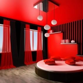 спальня в красных тонах интерьер фото