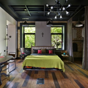 спальня в стиле лофт дизайн