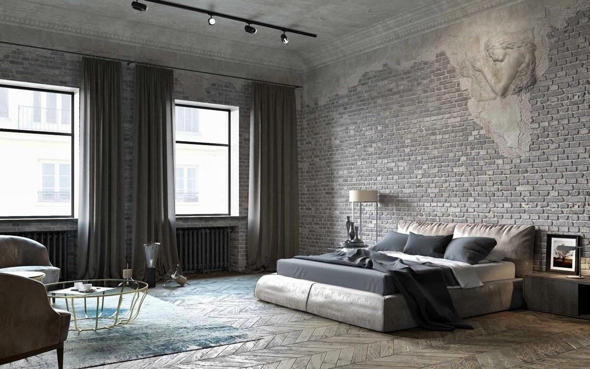 спальня в стиле лофт фото декора