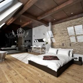 спальня в стиле лофт фото вариантов