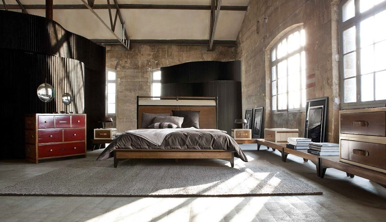 спальня в стиле лофт идеи варианты
