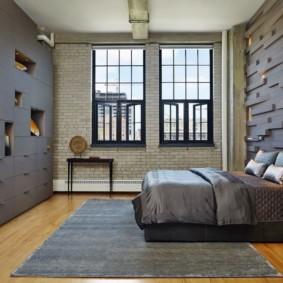 спальня в стиле лофт идеи видов