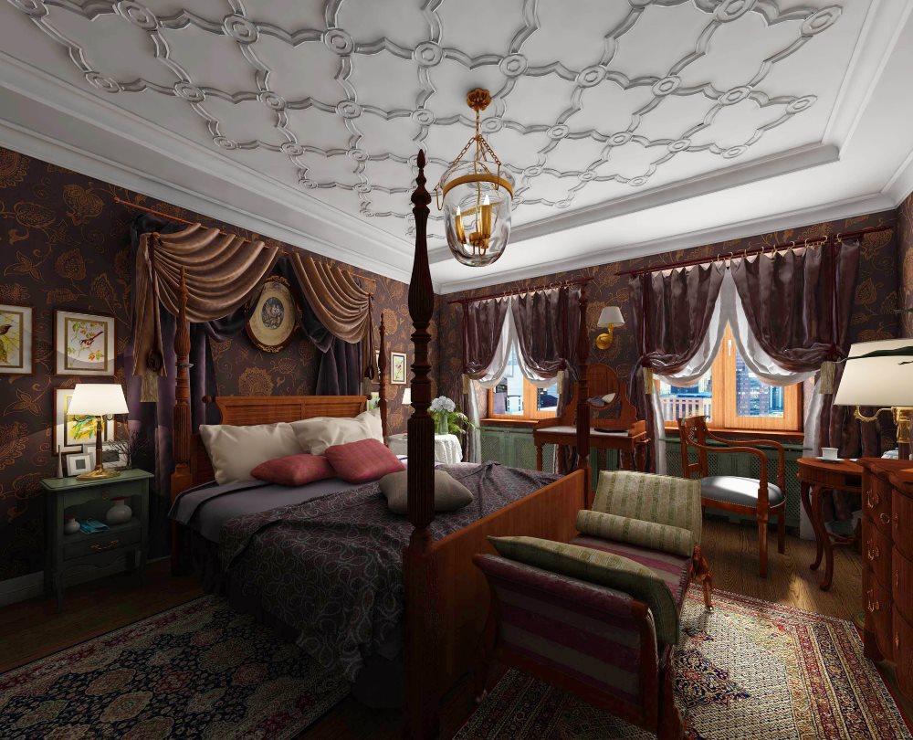 Лепнина на потолке в спальной комнате