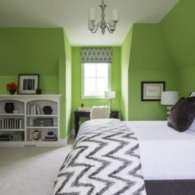 спальня в зеленых тонах декор идеи