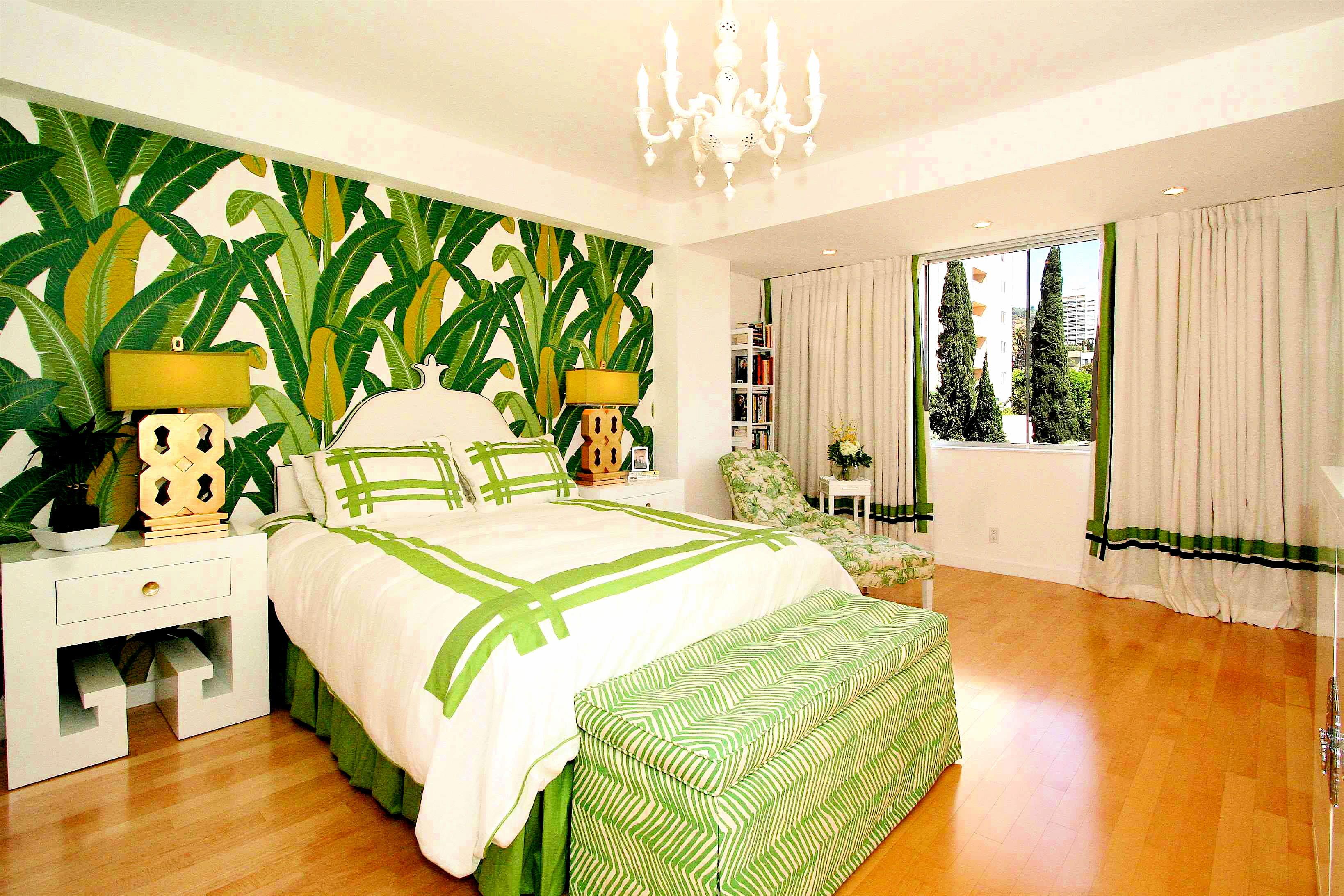 спальня в зеленых тонах дизайн