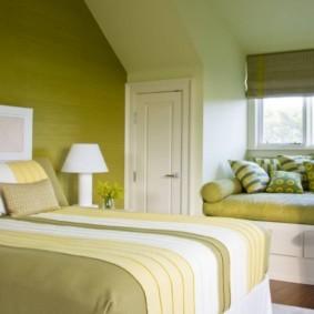 спальня в зеленых тонах фото оформления