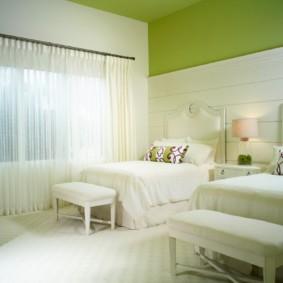 спальня в зеленых тонах фото вариантов