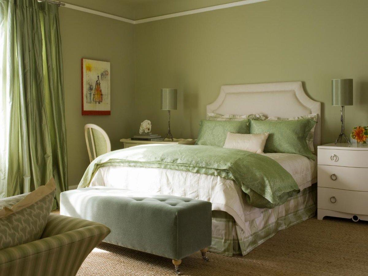 спальня в зеленых тонах фото виды