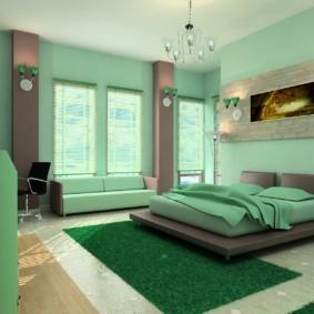 спальня в зеленых тонах идеи